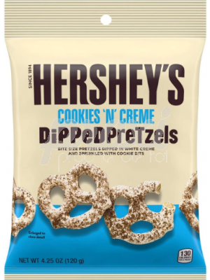 HERSHEY'S DIPPED PRETZELS COOKIES&CREME 120G